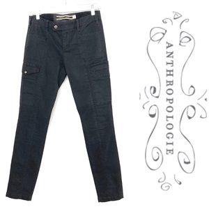 Anthro black skinny moto cargo jeans size 27